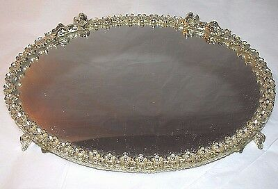 Vintage Sam Fink Silver Mirror Vanity Tray Cherubs Angels Flowers Oval 7.5""