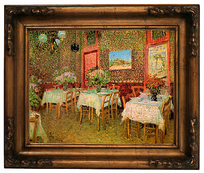 van Gogh Interior of a Restaurant Wood Framed Canvas Print Repro 11x14