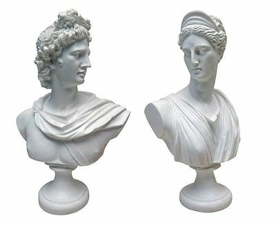 Set of 2: Diana & Apollo God and Goddess Twins Bonded Marble Bust Sculptures