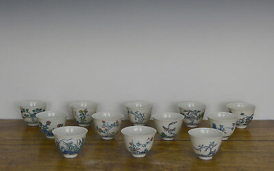 Rare Complete Set of 12 Chinese Doucai Monthly Flower Porcelain Wine Cup