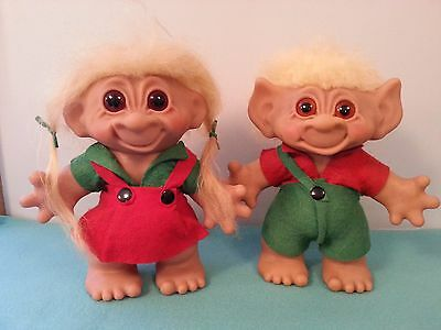 "Vintage 1960s Pair of Large 8"" Euro Dam Lykketrold Troll Dolls NM-MINT"