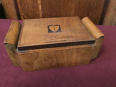 Gorgeous Antique Wooden Wood Oak Box With Inlaid Heraldic Shield