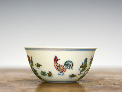 Superb Chinese Doucai Chicken Wine Cup