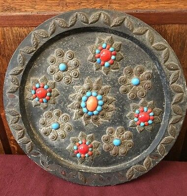 Antique 19Th C Or Earlier Folk Art Gypsy Wooden Wall Plaque Plate 28Cm Diameter