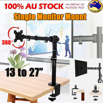 "13-27"" Single Arm Swivel Monitor LED LCD Screen VESA Bracket Stand Desk Mount AU"