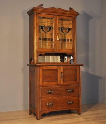 Attractive Large Antique Arts & Crafts Oak Lead Glazed Bookcase Cabinet