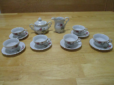 Wales teapot, cream & sugar and 6 cups with saucers - Pink roses