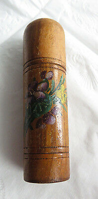"Large Antique Victorian Handpainted 4"" Tall Wooden Needle Case Holder"