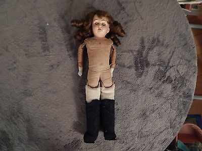 Antique Unmarked Sawdust stuffed doll --  Review Pictures