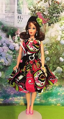 Barbie Silkstone Handmade Black Pink Green Dress 7 Piece Set Ooak (no Doll)