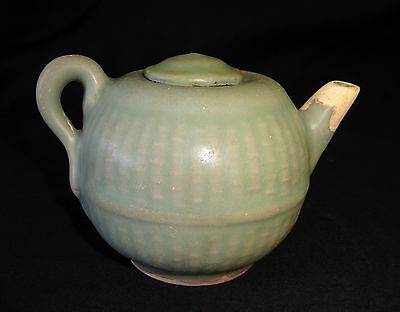13C Chinese Song Longquan Celadon Glaze Ewer - Repaired Spout (Hay)