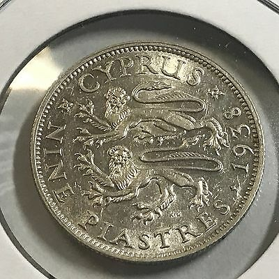 1938 Cyprus Silver 9 Piastres Almost Uncirculated Coin