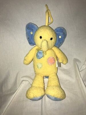 Carters Stuffed Plush Blue Yellow Musical Elephant Crib Pull Toy Baby Lovey #2