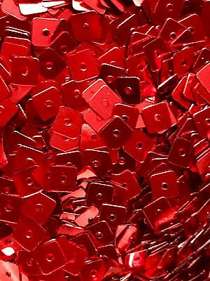 Sequins 5mm Tiny Christmas Red Metallic Square Choose Pack Size