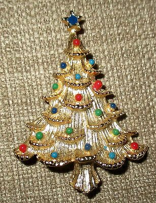 SPECIAL  Eisenberg Ice Christmas Tree Brooch/Pin  with Colored Glass Ornaments