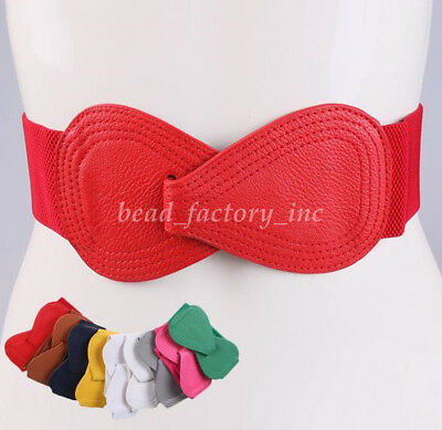 Women Fashion Wide Bowknot Buckle Elastic Stretch Corset Waistband Waist Belt
