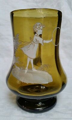 Antique Victorian Mary Gregory Amber Glass Handled Mug Tankard Girl Playing Hoop