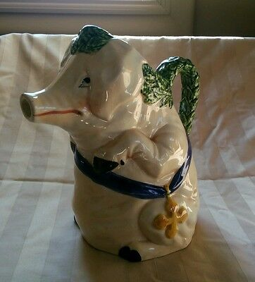 Vintage Italian Majolica Country  Monk Pig Pitcher Italy