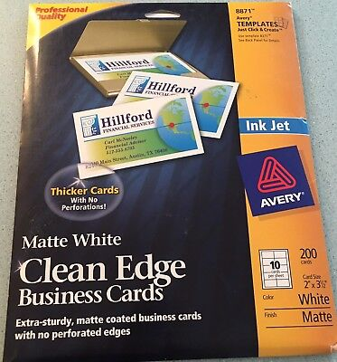 Avery True Print Clean Edge Business Cards Inkjet 2 x 3 1/2 White 200/Pack 8871