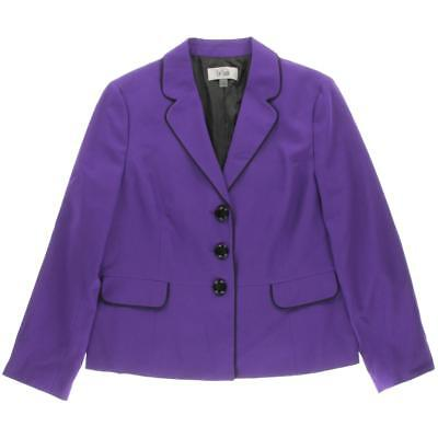 Le Suit 4507 Womens Purple Lined Long Sleeves Three-Button Blazer Jacket 4 BHFO