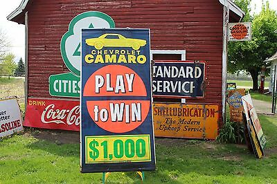 SCARCE ORIGINAL 1960's CHEVROLET CAMARO DEALERSHIP BANNER SIGN PLAY TO WIN $1000