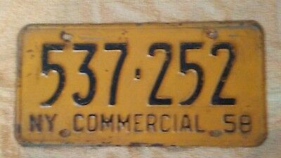 1958 New York Commercial License Plate