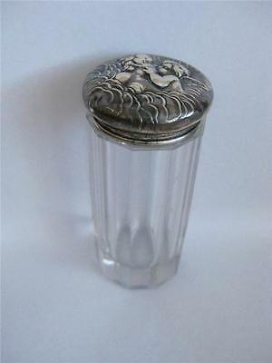 Antique Powder Jar with Sterling Covered Lid Repousse Cherub Kiss UNGER BROS Exc