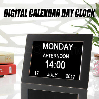 "8"" LED Black Dementia Digital Calendar Day Clock Extra Large Time Easy Set-up"