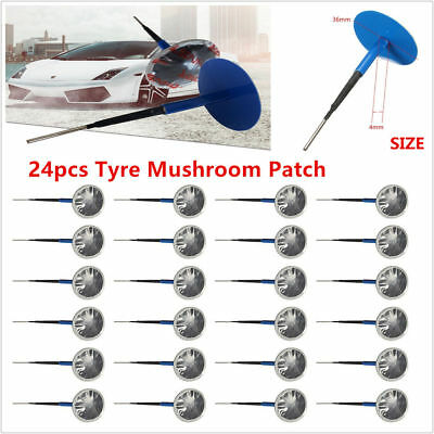24Pcs 36mm Natural Rubber Tire Puncture Repair Wired 4mm Plug Mushroom Patch