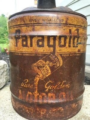 Extremely Rare Paragold Oil Company 5 Gallon Oil Can