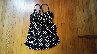 NEW Liz Lange Maternity Swimsuit Top Tankini Black White Dot Padding Size S