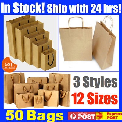 Bulk Brown Craft Paper Gift Carry Bags Small Medium Large Handles