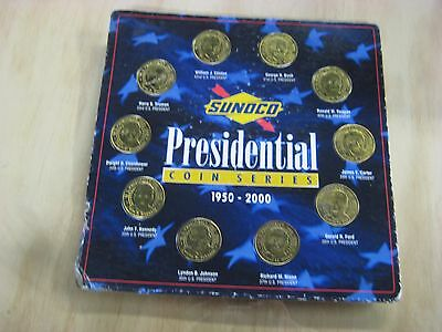 Sunoco 1950-2000 Presidential Coin Series Set -- 10 Brass Coins