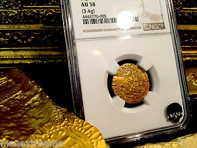 """Spain 1 Escudo 1516-1556 """"sq D To Left"""" Gold Cob Doubloon Ngc 58 Treasure Coin!"""
