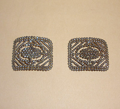 Beautiful 1920's Rectangular Cut Steel Shoe Buckles - Made in France