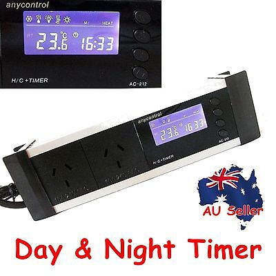 Day&Night Timer Switch Digital Thermostat Heat Controller AUPlug Reptile Brooder