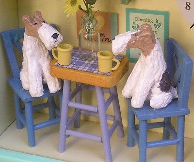 Wire Fox Terrier Pair CAFE Shadow Box with CLOCK!