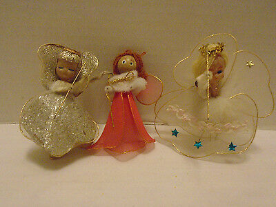 3 Vintage Chenille Angels Christmas Tree Ornaments