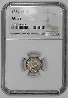 1834 Silver Capped Bust Half Dime NGC AU58 Great Looking H10C !