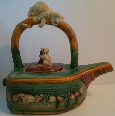 Vintage Minton Majolica Cat and Mouse Teapot Replica with Crackle Drip Glaze
