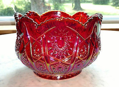 Indiana Glass Company Ruby Sunset Heirloom Hobstar & Arches 6 1/2 Inch Bowl