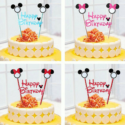 Colorful Flag Pick Toppers Cartoon Cake Decor Wedding Birthday Party Set