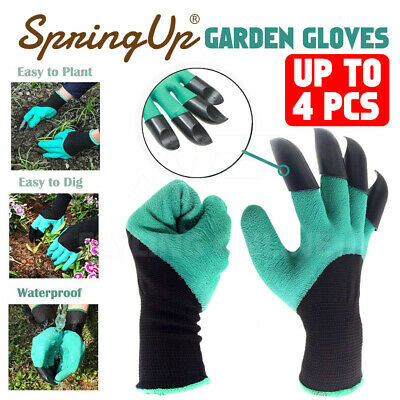 4 Pairs Garden Genie Gloves with Claws Waterproof Gardening Digging Planting