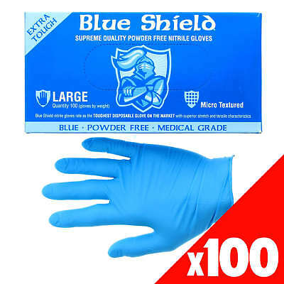 Blue Shield Nitrile Gloves Safety Extra Heavy Duty Low Sweat Box of 100 Large