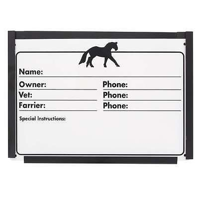 Stable Door Info Plate with Holder Zilco Horse Equine Scew On Black Border Plate