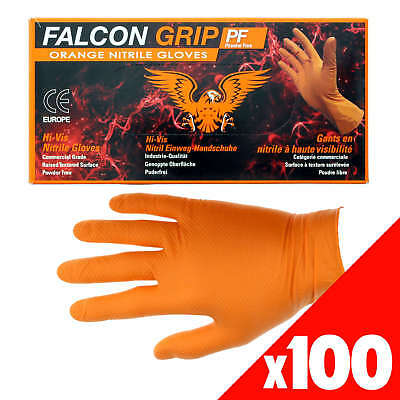 Orange Shield Nitrile Gloves Safety Extra Heavy Duty Low Sweat Box of 100 Large