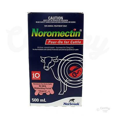 Noromectin Pour On Parasite Treatment Cattle Ivermectin 5mg/ml Norbrook 500ml