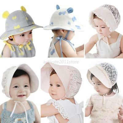 Toddlers Baby Boys Girls Lace Hollow Hat Cap Soft Bonnet Outdoor New Sun Hats AU