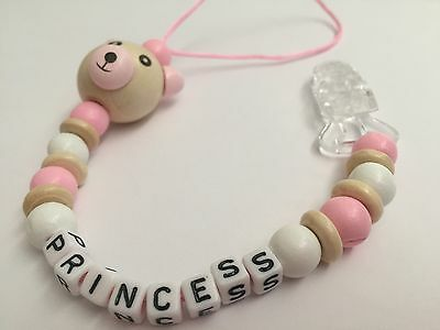 Personalised Dummy Clip💜Wooden💜Christening💜Dummy Chain💜Baby Gift💜Pink
