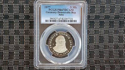 PCGS Proof 67DCAM German-democratic Republic 5 Mark, 1977, Death of Friedrick